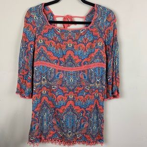 Free People Paisley Boho Tunic Crochet Trim Size 4